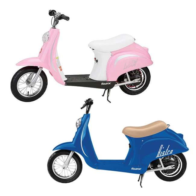 15130641 + 15130610 Razor Pocket Mod Miniature Electric Scooters, 1 Blue & 1 Pink