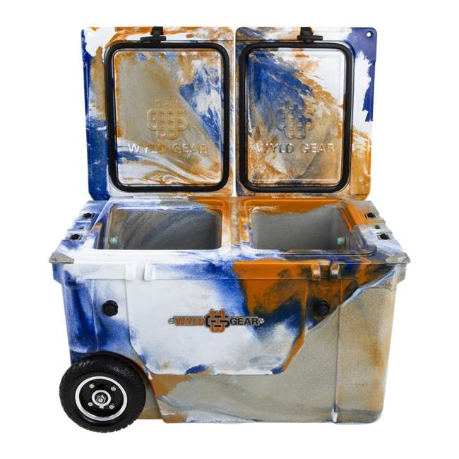 HC50-17ONW WYLD HC50-17ONW 50 Qt. Dual Compartment Insulated Cooler w/ Wheels, Orange/Blue 3