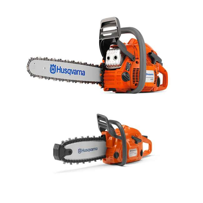 HV-CS-965030296 + HV-TOY-522771104 Husqvarna 445 Rancher 18-Inch Bar Chainsaw and 440 Toy Kids Chainsaw, Orange