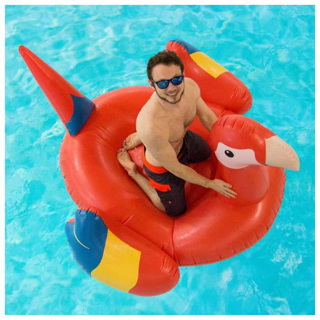 90629-U-A Swimline Giant Ride-On Tropical Parrot Inflatable Pool Float, Pink (Open Box) 2