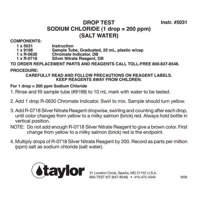 4 x K1766 Taylor K-1766 Sodium Chloride Drop Test Kit (4 Pack) 2