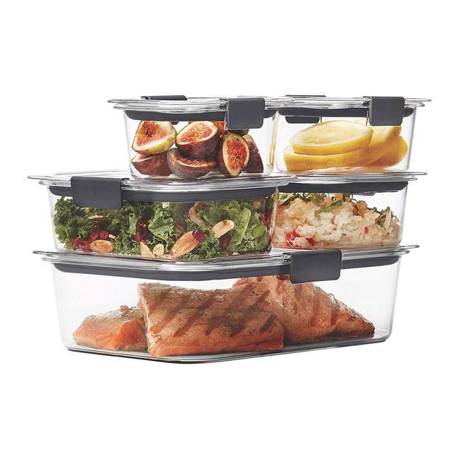 1976520 Rubbermaid Brilliance 10 Piece Plastic Food Storage Container Set, Clear/Gray 1