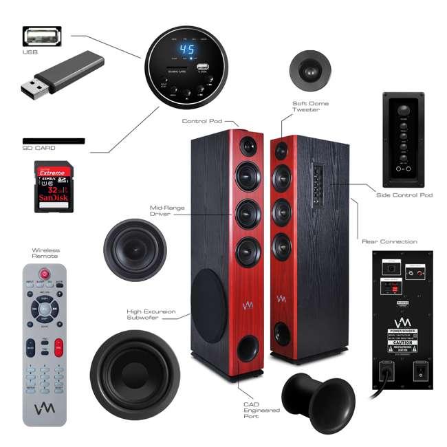 EXAT31-BK VM Audio EXAT31 Black Floorstanding Powered Bluetooth Tower Home Speakers Pair 6