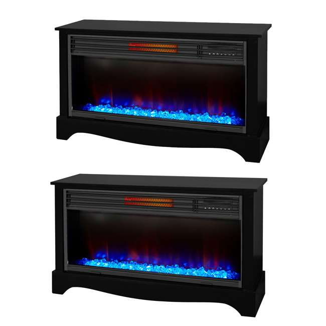 LS-ZCFP1034US-BLACK LifeSmart LifeZone Electric Infrared Quartz Fireplace Heater (2 Pack)