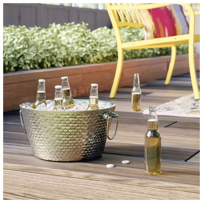 4 x 17689 BREKX Anchored Walled Hammered Steel Beverage Bucket (4 Pack) 2