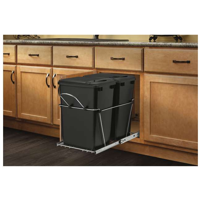 RV-18KD-18C S-30 Rev A Shelf RV-18KD-18C S Double 35 Quart Pull Out Waste Bin Container, Chrome 3