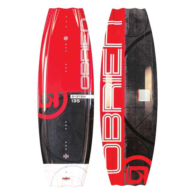 2180194-MW + AHWR-8 O'Brien Wakeboard with Clutch Size 4 to 8 Boots & Airhead 70 Foot Tow Rope, Red 2