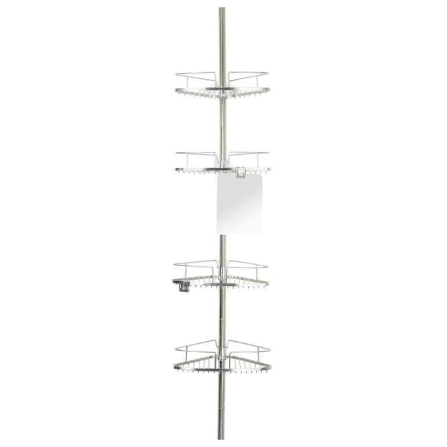13406 Better Living Fineline 4-Tier Stainless Steel Shower Storage Caddy with Mirror