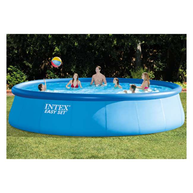 26175EH + QLC-42003 Intex 18 x 4 Foot Inflatable Easy Set Pool w/ Ladder, Pump, & Cleaning Kit 3
