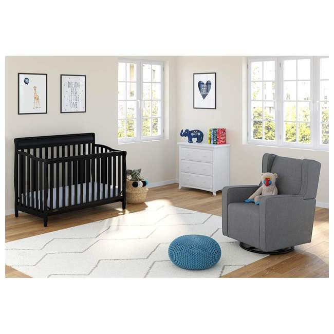 04530-66B + 06711-300 Graco Stanton 4-in-1 Convertible Crib in Black w/ Foam Mattress 5