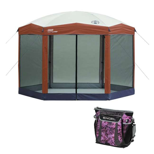 A-2000028003-G + ENGCB2-P1PO Coleman Back Home 12x10 Foot Screen House & 24 Can Backpack Cooler