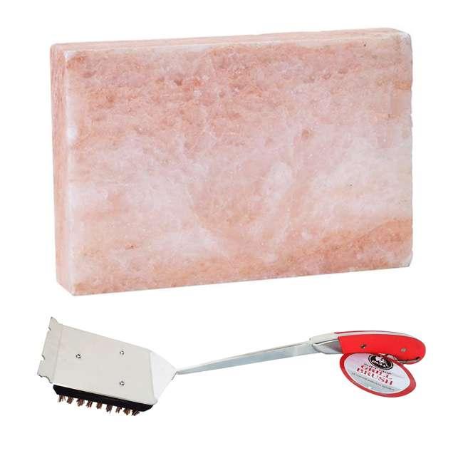 BOPA-24300 + BOPA-24272 Bull Himalayan Pink Salt Block & Avant Grill Brush w/ Natural Bristles