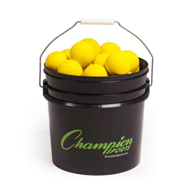 LBYN36 Champion Sports Official Rubber Bulk Lacrosse Lax Balls 36 Count Bucket, Yellow