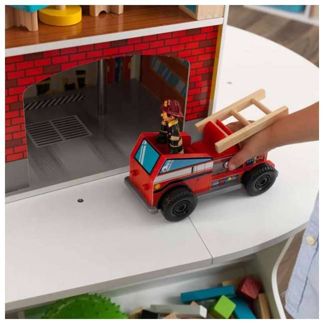 Kidkraft Wooden Fire Station Set Toy W 14 Accessory Pieces