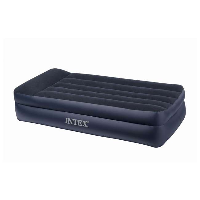 66705E Intex Twin Raised Pillow Rest Airbeds with Built-In Pump (2 Pack) 1