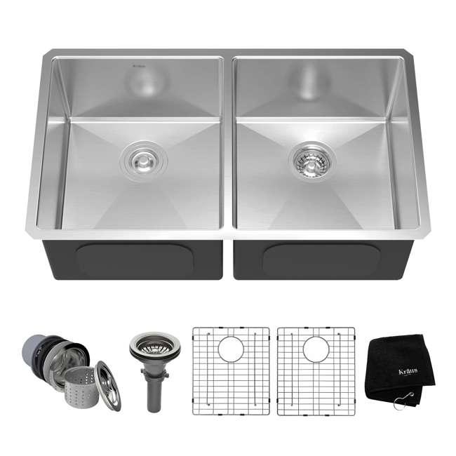 KHU102-33 Kraus 33-Inch Undermount Double Stainless Steel Kitchen Sink (2 Pack) 1