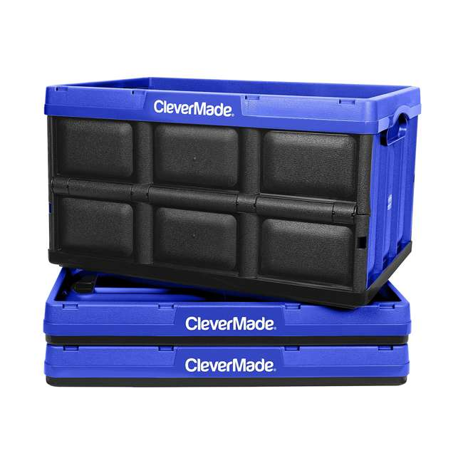 8031844-7033PK CleverMade Durable Stackable 62L Collapsible Storage Bins, Royal Blue (3-Pack)