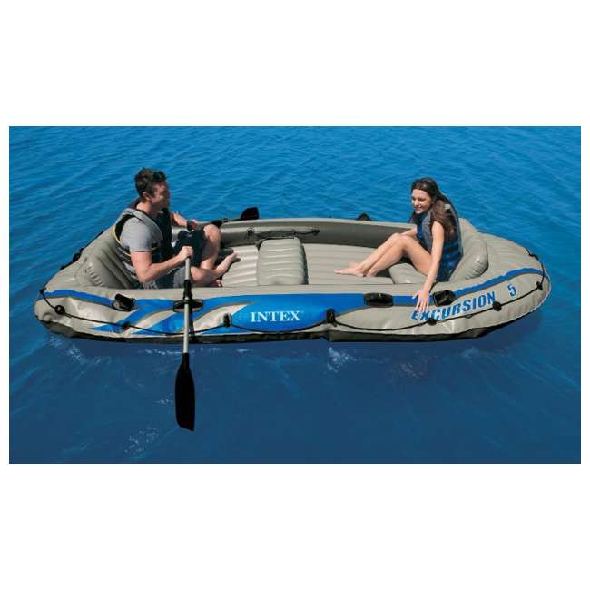 4 x 68325EP INTEX  Excursion 5 Inflatable Rafting/Fishing Dinghy Boat Set |  (Used) (4 Pack) 5
