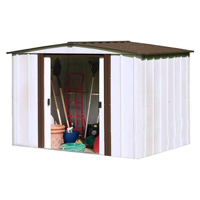 NW86-A Arrow Newburgh 8 x 6 Foot Steel Backyard Outdoor Garden Storage Shed, White 1
