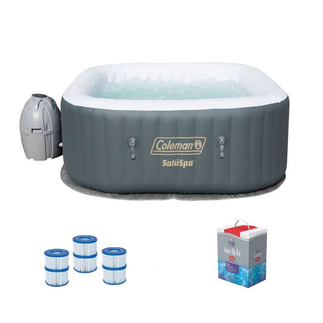 15442-BW + 3 x 90352E-BW + 45520A Coleman SaluSpa Jacuzzi Hot Tub w/ Chlorine Kit & Filter (3 Pack)