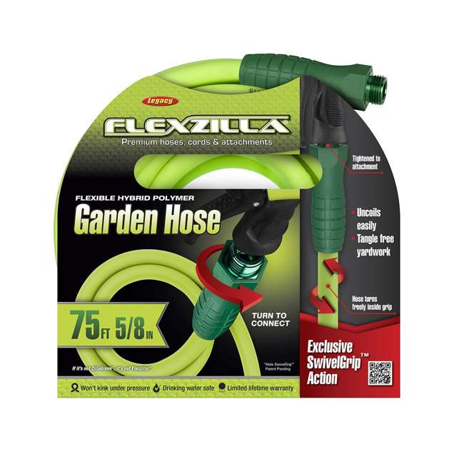 LEG-HFZG575YWS Flexzilla Garden Hose with SwivelGrip Connections, 5/8 Inch x 75 Feet (2 Pack) 2