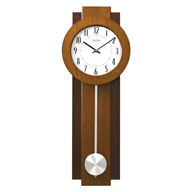 C3383 Bulova Clocks C3383 Avent 23 Inch 2 Tone Walnut and Mahogany Pendulum Wall Clock