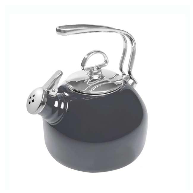 37-18S-ME Chantal 1.8 Quart Enamel Stove Whistling Tea Pot, Onyx (2 Pack) 1