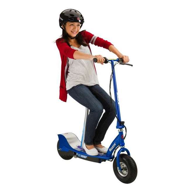 13116240 + 97778 + 96785 Razor E300S Seated Electric Scooter (Blue) with Helmet, Elbow & Knee Pads 2