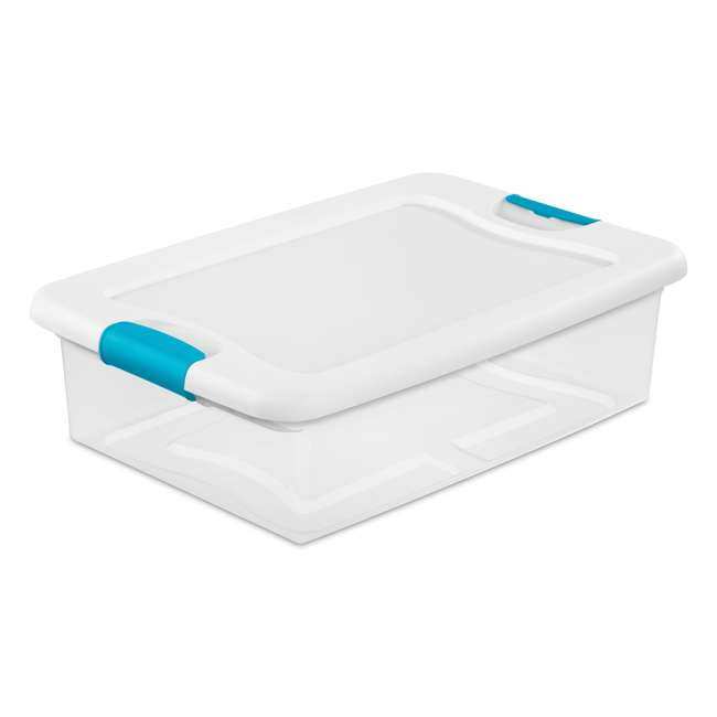 120 x 14968006 Sterilite 32-Quart Clear & Blue Stackable Latching Storage Box Container (120 Pack) 3