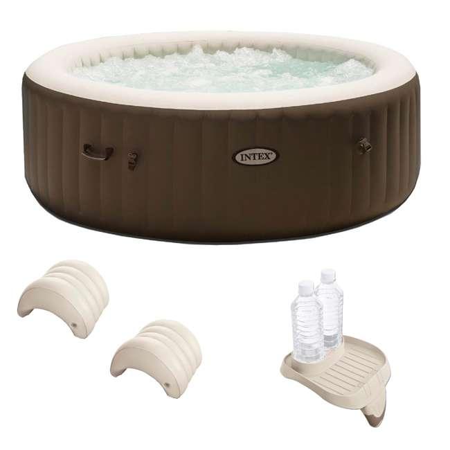 28407VM + 28500E + 2 x 28501E Intex PureSpa 6 Person Inflatable Hot Tub & Cup Holder & Headrest (2 Pack)
