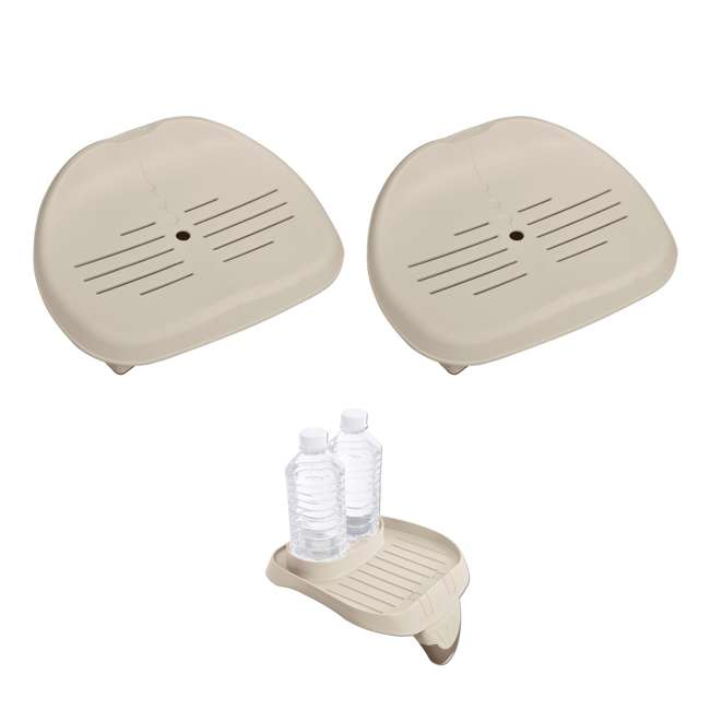 28502E + 28500E Intex Slip-Resistant Hot Tub Seat (2 Pack) & Cup Holder Tray