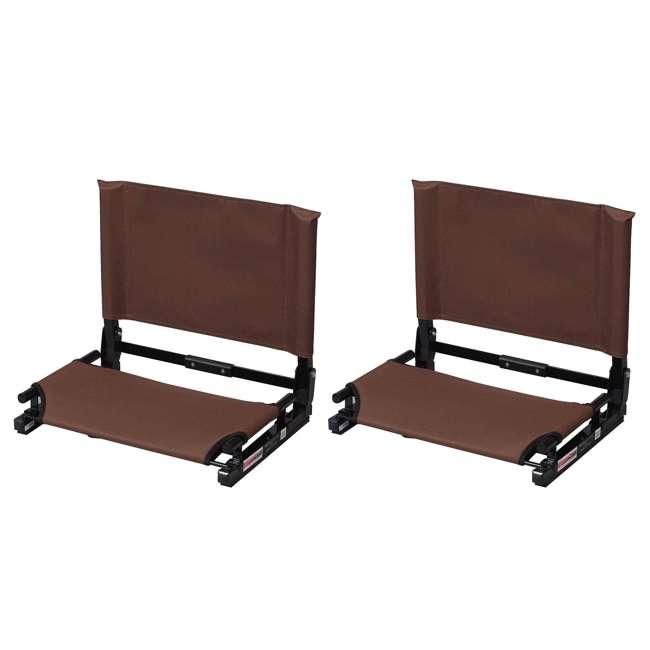 SC2-BRWN Stadium Chair Game Changer Bleacher Seat, Brown (2 Pack)