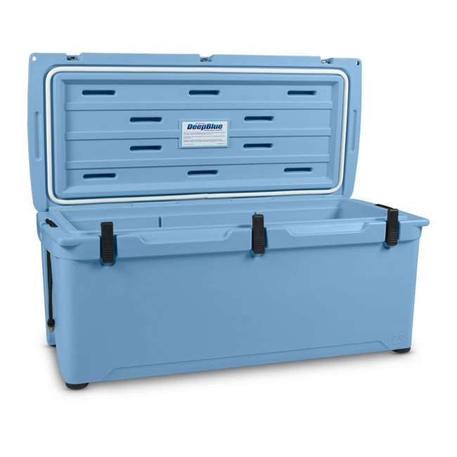 ENG123-B-U-B Engel 123 High Performance 27 Gal Roto Molded 130 Can Cooler, Arctic Blue (Used) 5