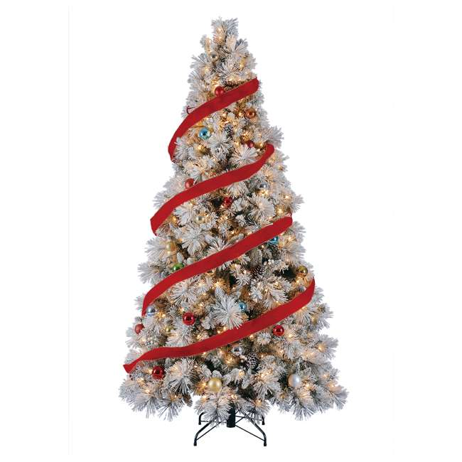 TG76M4E42S20 + GX1623U22F27 Home Heritage Snowdrift Spruce 7.5' Pre Lit Christmas Tree with Rotating Stand 4