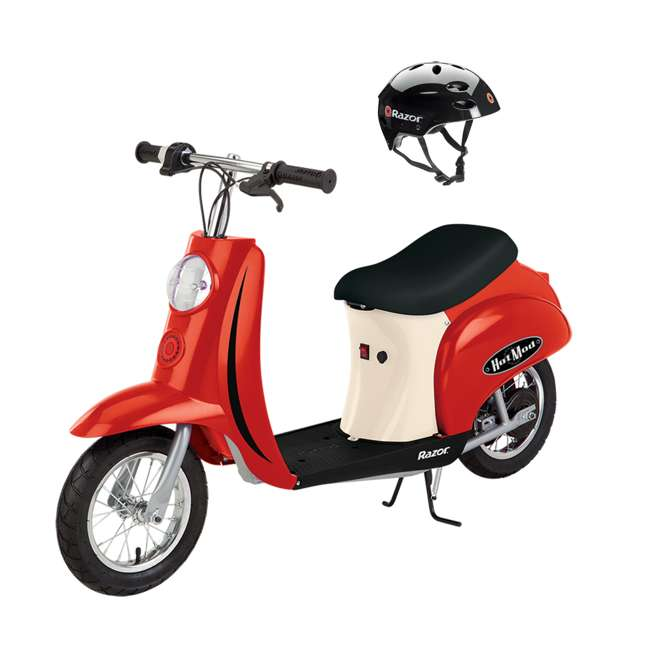 15130656 + 97778 Razor Pocket Mod (Red) & Youth Sport Helmet (Black)