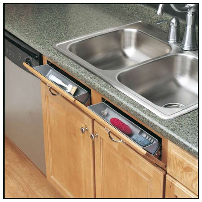 6572-14-11-52 Rev A Shelf 14 Inch Polymer Kitchen Sink Front Tip Out Trays and Hinges, White 4