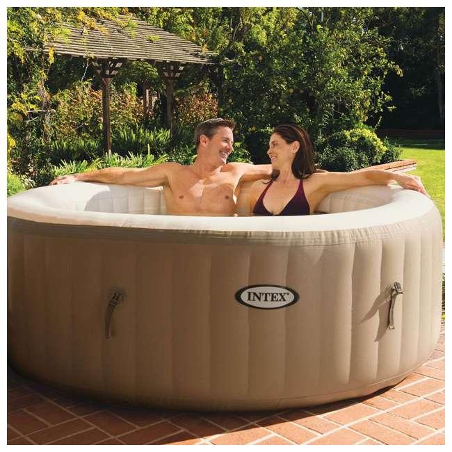 28403E + 28500E + 28501E Intex PureSpa 4-Person Inflatable Hot Tub with Drink Tray & Headrest  4