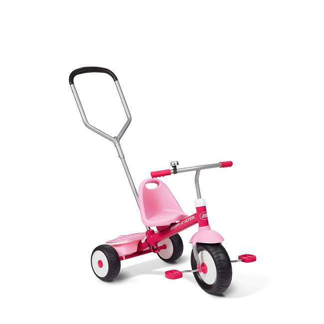 53PZ Radio Flyer Deluxe Steer and Stroll Kids Outdoor Recreation Bike Tricycle, Pink