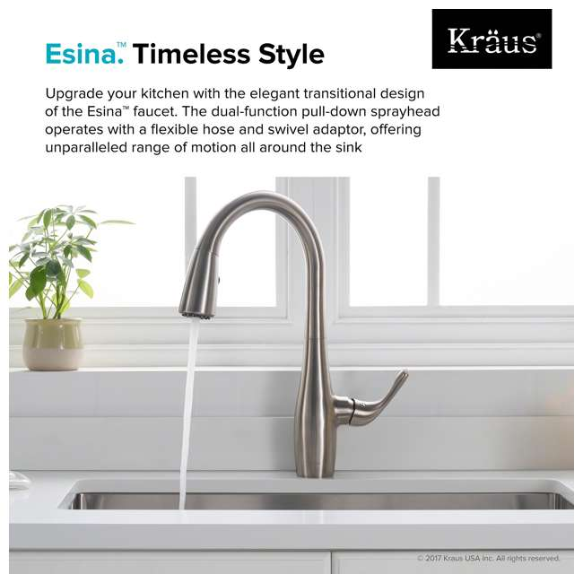 KPF-1670SFS Kraus Esina Single Handle Stainless Steel Faucet, Silver (2 Pack) 5