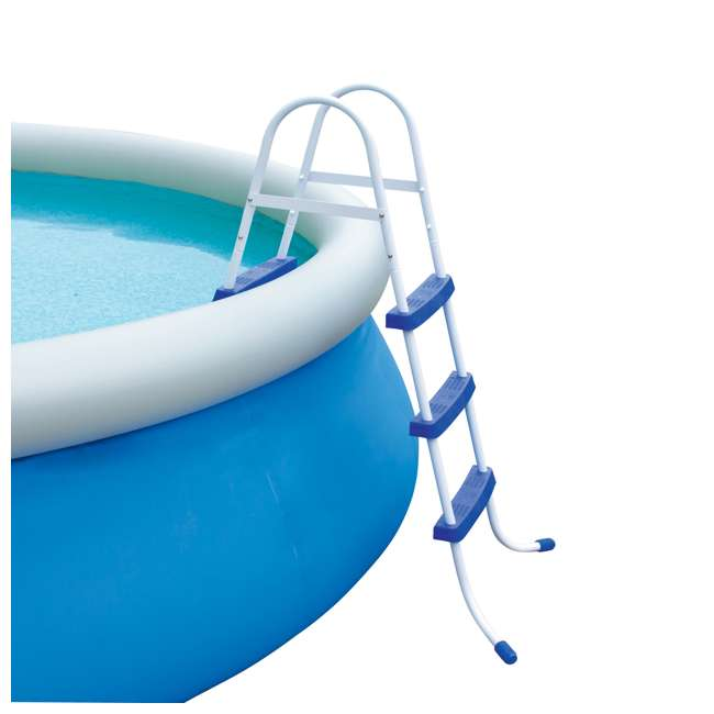 58334E-BW + 28031E Bestway 36-Inch Pool Ladder & 12-Foot Round Easy Set Pool Cover   1