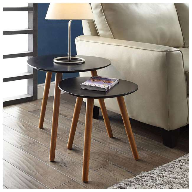 S20-156 Convenience Concepts S20-156 Oslo Modern Study Wood Nesting End Tables, Black 2