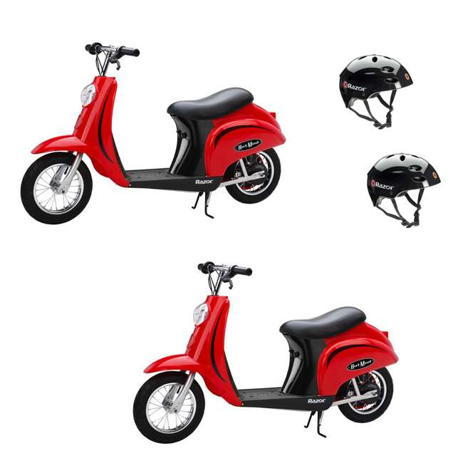 15130656 + 2 x 97778 Razor Pocket Mod Miniature Electric Scooter, Red (2 Pack) + Helmets