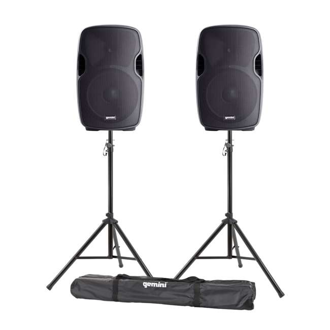 "AS-08P + ST-PACK Gemini AS-08P 8"" Active Powered PA Loudspeaker (2 Pack) with Tripod Stands & Bag"