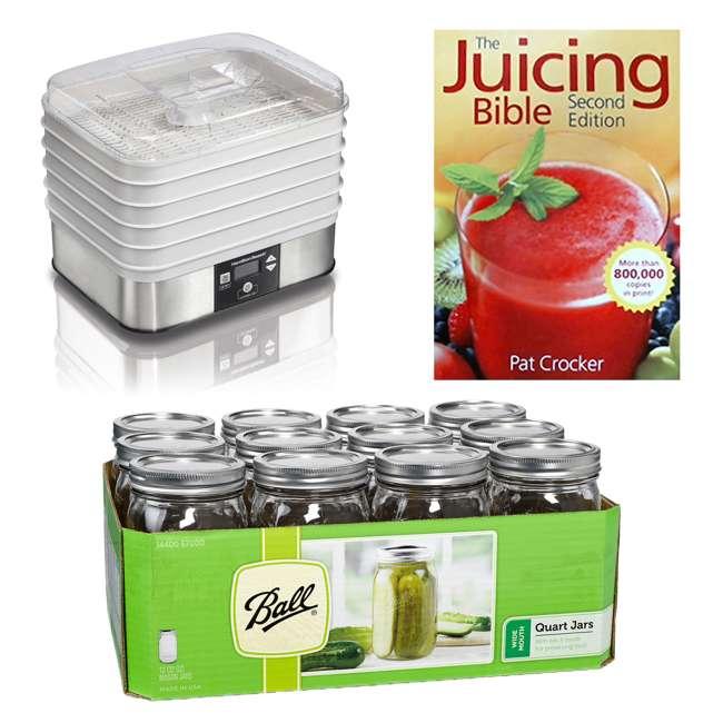 32100A + 67000-12PACK + JC100 Hamilton Beach Food Dehydrator, Mason Jars, and Juicing Book