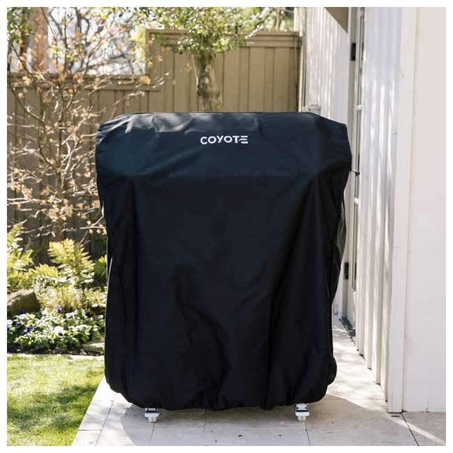 CCVR30-CT Coyote Outdoors 30 In Vinyl Protective Weatherproof Cart Grill Cover for C2SL30 1