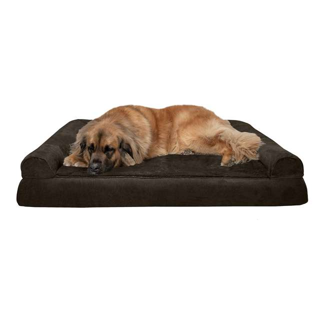 45636081 Furhaven 45636081 Jumbo Plus Faux Fur & Suede Orthopedic Sofa Pet Bed, Expresso
