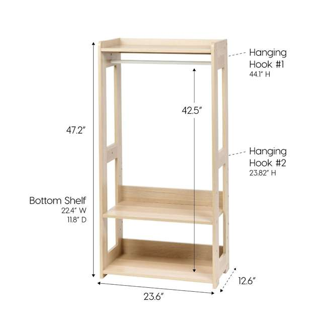 596285 IRIS 2 Shelf Compact Wood Garment Hanging Closet Clothing Clothes Rack, Brown 7