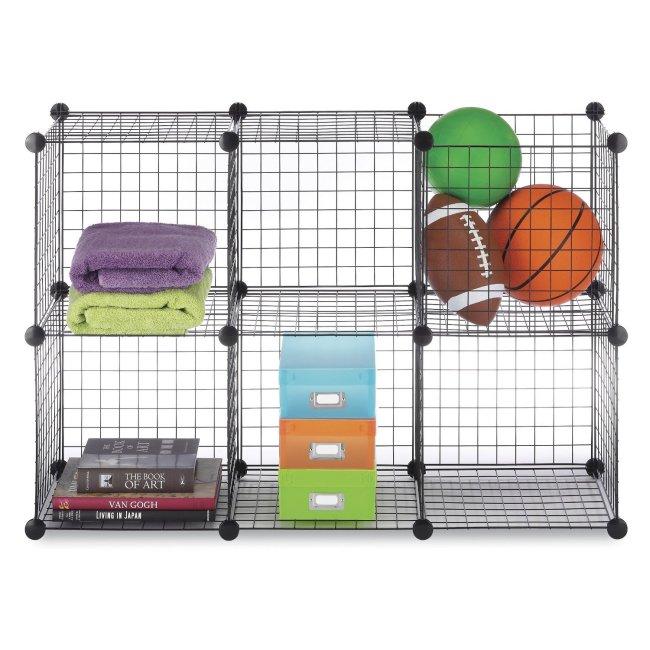 6070-968-BLK-U-A Whitmor Black Wire Stackable Storage Cubes Shelving Unit - 6 (Open Box)