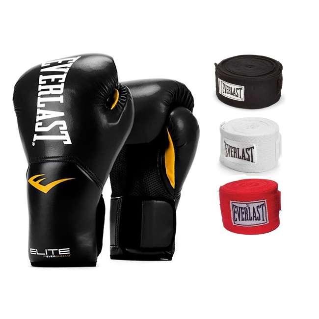 P00001201 + 4455-3 Everlast Elite Pro Style Boxing Gloves, Black w/ 3 Hand Wraps