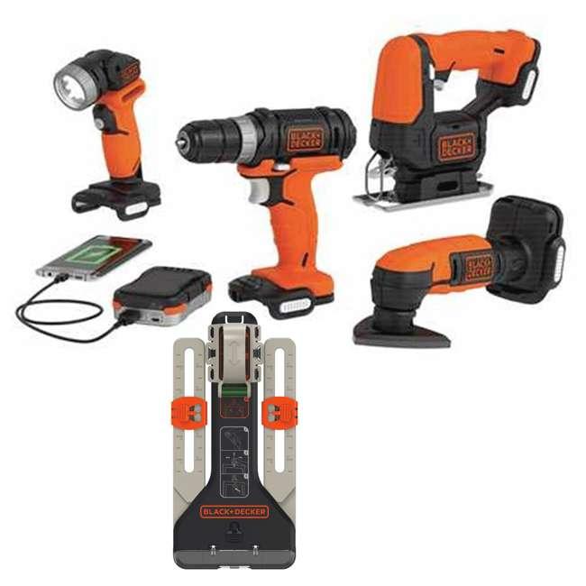 BDCK502C1 + BDMKIT101C Black & Decker Drill, Jig Saw, Sander & Flashlight Kit & Picture Hanging Kit